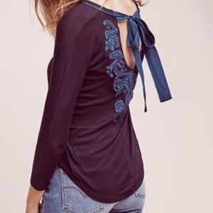 Anthro Akemi Kin M embroidered tie back shirt top